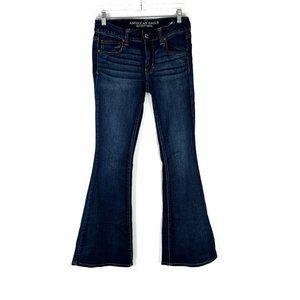 American Eagle Super Super Stretch Boho Flare Jeans Wide Leg 6 Regular